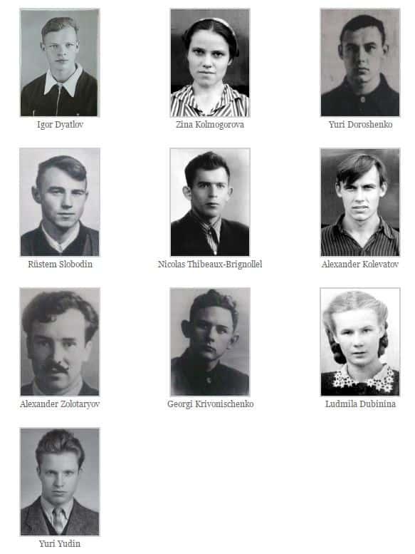 Dyatlov Olayı Genç Dağcılar ve İsimleri